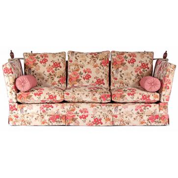 Tudor Knole drop arm sofa in Linwood Silver Pheasant