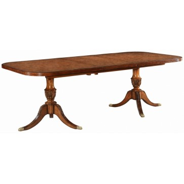 Twin pedestal extending dining table in burr oak