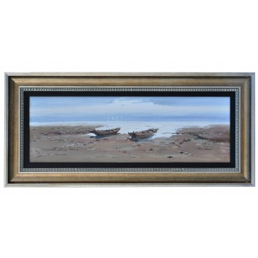 Two boats drawn up on beach, framed oil painting