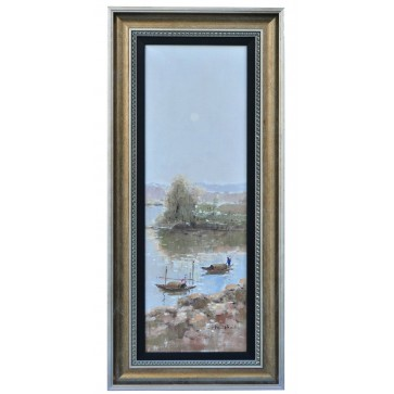 Two boats shrimping, framed oil painting
