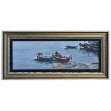 Two small boats with the tide going out, framed oil painting
