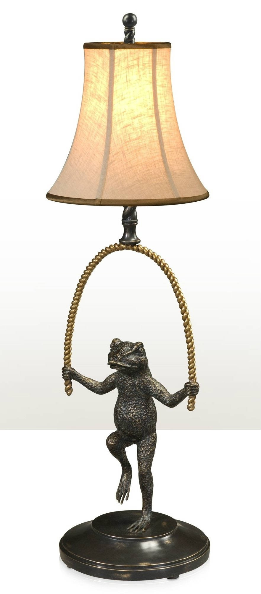 Verdigris brass frog table lamp, Table Lamps from Brights of Nettlebed