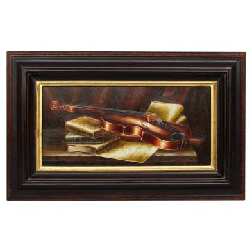 Violin and Score, framed oil painting