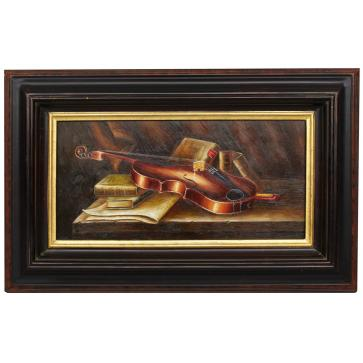 Violin resting on books, framed oil painting