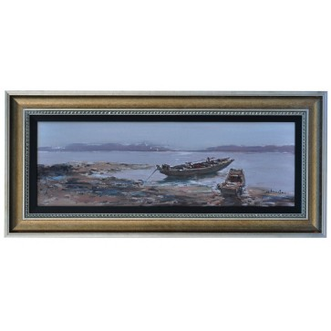 Waiting for the tide, framed oil painting