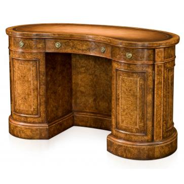 Walnut kidney shaped pedestal desk