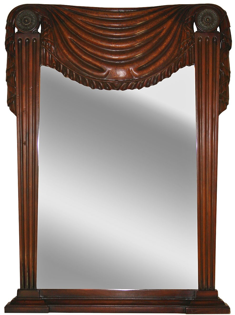 Walnut swag and tail carved mirror