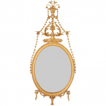 Water gilded oval mirror with bell flowers