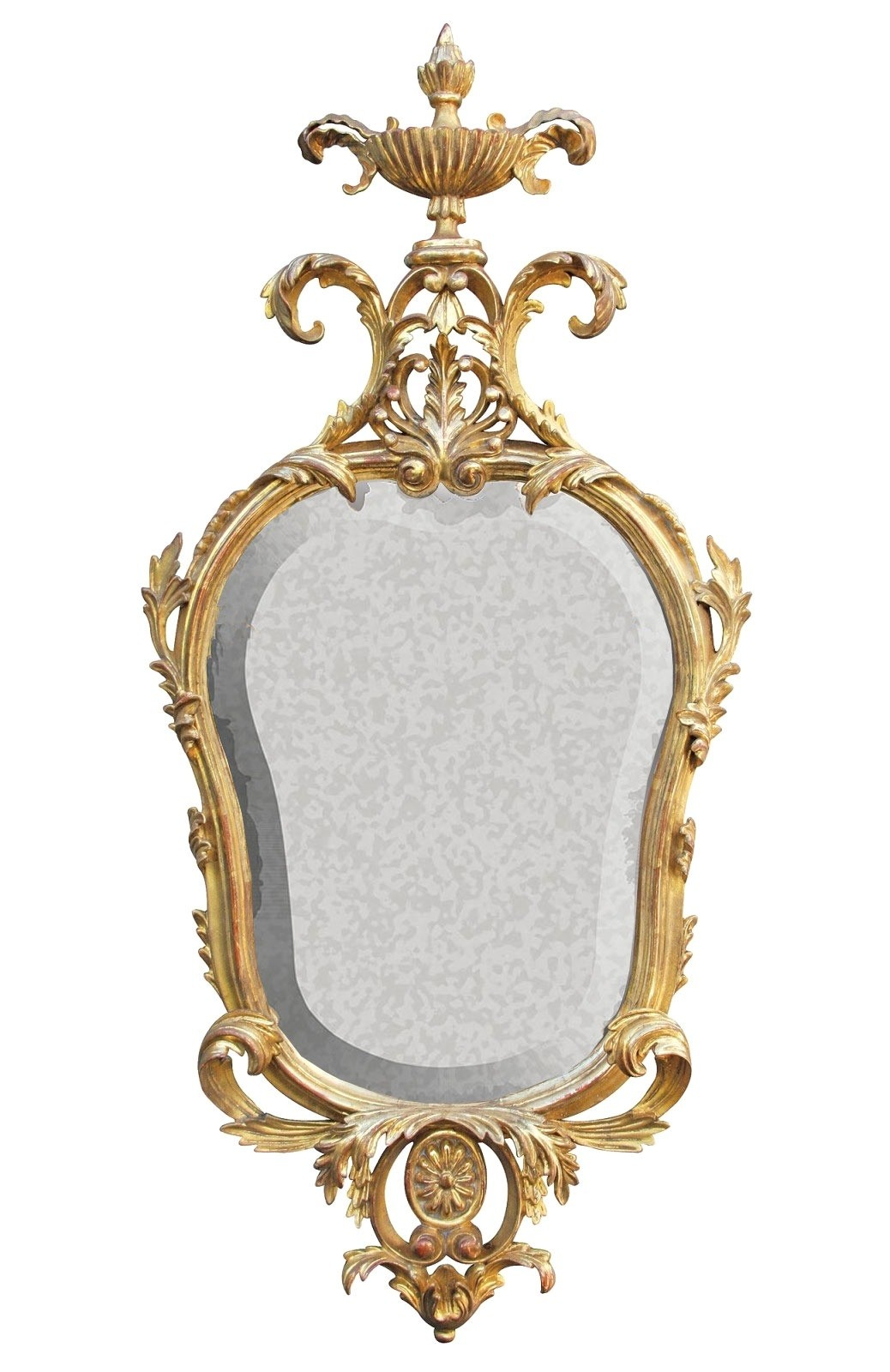Water gilded period mirror with antiqued glass