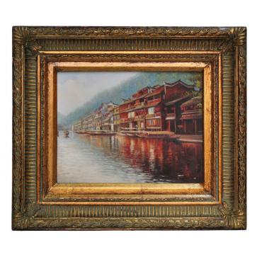 Waterside scene in China, framed oil painting