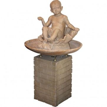 White Marble Fountain On Stone Base