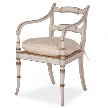 White Regency style chair with damask cushion