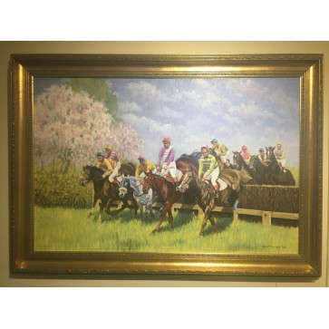 Wilf Plowman Hourse Racing 1990 With Gold Frame