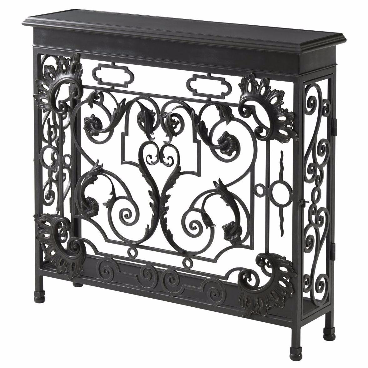 wrought iron and brass console table