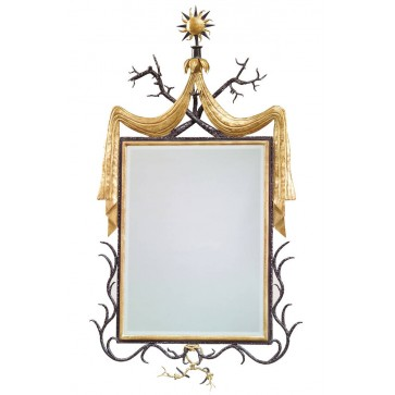 Wrought iron and gilt wall mirror