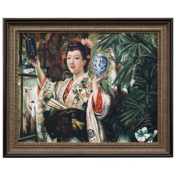 Young Lady Holding Japanese Objects after James Tissot